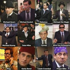 All the Michels in one pin - Memes And Humor 2020 Michael Scott, Dundee, Michael Klump, The Office Show, Date Mike The Office, Office Jokes, Funny Office, Prison Mike, Office Fan
