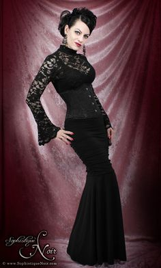 Gothic Fashion - Lace Bell-Sleeve Top and Gallery Serpentine Corset