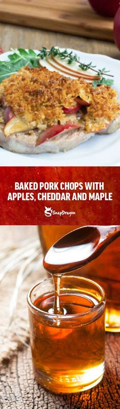These easy Baked Pork Chops go into the oven with apples, maple and a crunchy cheddar and breadcrumb crust for a quick and delicious dinner. Easy Baked Pork Chops, Apple Pork Chops, Apple Recipes, Pork Recipes, Cooked Apples, Pork Dishes, Cheddar, Oven, Dinner Recipes