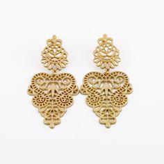 """Gold-tone intricate filigree baroque chandelier earrings. - Approx 3.5"""" - Post back earrings"""