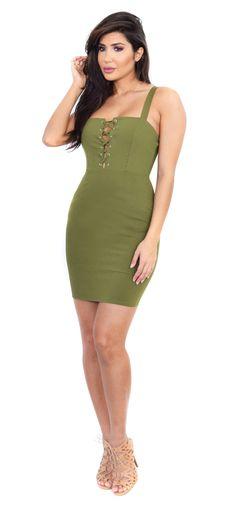 Eva Tie Up Olive Dress
