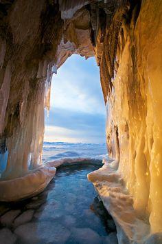 Russia, Baikal lake, Olkhon island, ice grotto