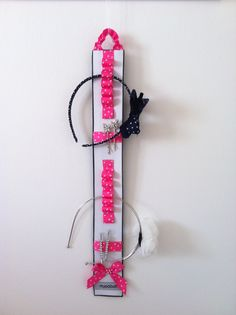 pink/hearts hair accessory organiser backed with denim ...handy accessory to reorganise your hair clips and hair bands