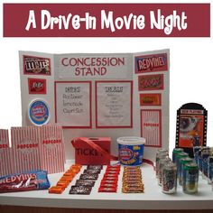 Homemaking Fun: A Drive-In Movie Night ~ What a great idea for the kids! Drive-In including cardboard boxes made to look like cars that the kids can lay or sit in to watch the show! Sleepover Party, Slumber Parties, Birthday Parties, Birthday Ideas, 12th Birthday, Theme Parties, Preteen Birthday, Sleepover Snacks, Teen Sleepover