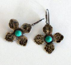 Turquoise Earrings Sterling Silver Boho Earrings Turquoise Jewelry Gemstone Earrings Boho Jewelry Gift For Her Artisan Earrings by BeadIndulgences on Etsy