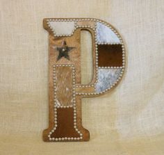 Cowhide Wall Letter P  Made to Order Western Home by LizzyandMe