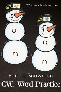 FREE Build a Snowman CVC Words Practice FREE Snowman CVC Words – this printable activities will help preschool, kindergarten, first grade, and grade practice simple words with a fun winter theme. Perfect for centers Kindergarten Centers, Preschool Kindergarten, Literacy Centers, Early Literacy, Kindergarten Christmas, Reading Centers, Preschool Themes, Kindergarten Reading, Kindergarten Worksheets