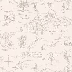 Jane Churchill One Hundred Acre Wood Map Charcoal Wallpaper main image