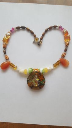 Lampwork. Lampwork pendant. Wooden beads. AB beads necklace. 18 inch necklace. Statement necklace.