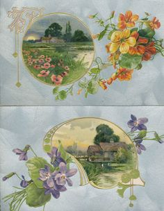 Lot of 2 vintage postcards Greetings Country Village Scenes & Flowers-ccc-188