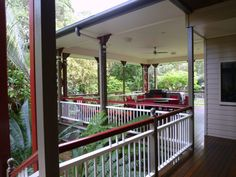 Cowan Cowan Beach House  Beach House Deck with lush vegetation. Modern Rustic Style. Sustainable Architecture at Moreton Island by Birchall & Partners Architects.  Architects Ipswich | Architects Brisbane | Architects Gold Coast Rustic Style, Modern Rustic, Beach House Deck, Brisbane Architects, Architectural Columns, Queenslander, Indoor Outdoor, Outdoor Decor, Sustainable Architecture