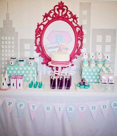 girl superhero party in pastel pink, lavendar, aqua and grey  {styling and printables by Paiges of Style on Etsy}