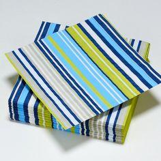 Serviettes rayé en bleu, vert, gris et blanc