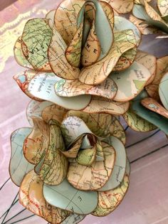 Pin on Paper flowers Old Book Crafts, Map Crafts, Book Page Crafts, Music Crafts, Paper Crafts For Kids, Paper Flowers Diy, Handmade Flowers, Flower Crafts, Diy Paper