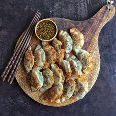 Miso Roasted Eggplant Gyoza - Cravings in Amsterdam Vegetarian Dumplings Recipe, Dumpling Recipe, Vegetarian Recipes, Cooking Recipes, Miso Eggplant, Eggplant Dishes, Roast Eggplant, Eggplant Recipes, Gourmet