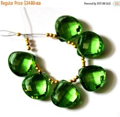 55% OFF SALE 4 Strand 14x14 mm 6 Pcs Green by GemsAndBeadsEmporium