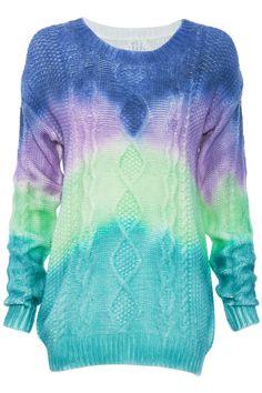 ROMWE   Rainbow Print Knitted Jumper, The Latest Street Fashion