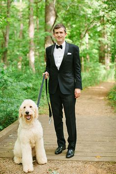 Would You Walk Down The Aisle With Your Dog? #refinery29  http://www.refinery29.com/martha-stewart-weddings/14#slide5  Finn, the couple's goldendoodle, had been a part of their lives for two years come wedding day. During the planning stage, Laine and Rob had just one request: Their venue must allow dogs for the entire celebration. The beloved dog roamed freely and mingled all day to the couple's delight.