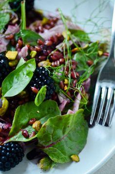 Freekeh salad with pistachios and a blackberry vinaigrette...