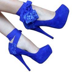 Blue Chiffon Heel