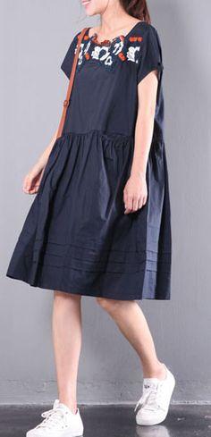 loose linen dresses embroidery plus size sundress drawstring short sleeve mid dress