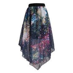 Pleated Chiffon Galaxy Cosmic Digital Printed Skirts (2.055 RUB) ❤ liked on Polyvore featuring skirts, chiffon knee length skirt, galaxy skirt, cosmic skirt, chiffon skirt and knee length pleated skirt