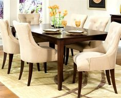 Dinning room set...<3 the upholstered chairs!