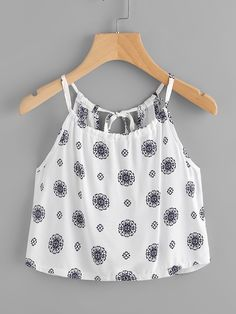 Shop Printed Random Self Tie Keyhole Back Cami Top online. SheIn offers Printed Random Self Tie Keyhole Back Cami Top & more to fit your fashionable needs. Girls Summer Outfits, Girly Outfits, Trendy Outfits, Dress Outfits, Cute Outfits, Dresses, Stylish Tops, Trendy Tops, Teen Fashion