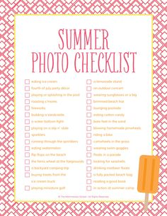 "Summer-Photo-Checklist; not an photographer, but what a cute idea. ""Summer photo bucket list""..."