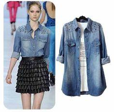 Camisa Jeans Feminina - Frete Incluso - Sc002 - R$ 45,00 no MercadoLivre