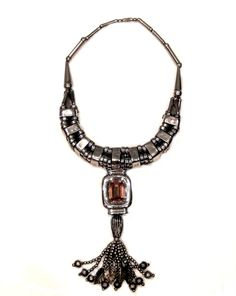 Double-Stacked Silver and Cubed Collar, Antique Gem Cut Lozenge, Antique Silvered Bead and Leaf Tassel Art Decor, Cube, Jewelry Design, Gems, Antiques, Tassel, Silver, Texture, Pattern