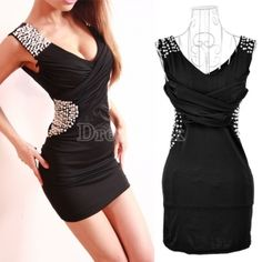 New Sexy Women's Sleeveless V-neck Beads Mini Dress Casual Summer Club Cocktail Party