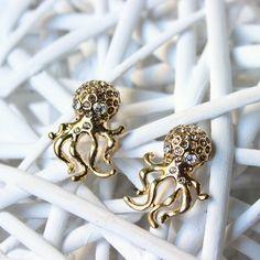 Orecchini dorati, orecchini polpo, orecchini polipo, orecchini, gioielli, orecchini eleganti, idee regalo, dorato, orecchini eleganti