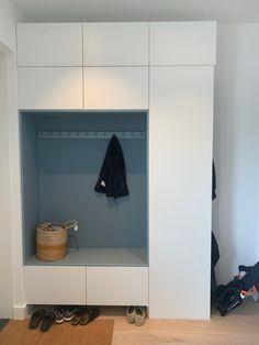 Pax Closet, Entry Closet, Entry Foyer, Entryway Decor, Closet Shelves, Small Hallway Furniture, Ikea Hallway, Modern Entry, Modern Hallway