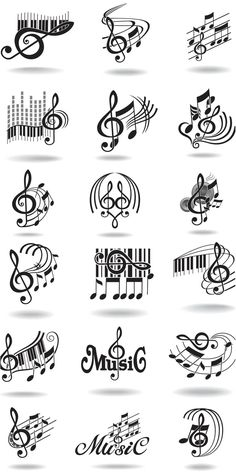 Notes, music staff and treble clef vector - image