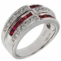 Beautiful 1.50ct Round DIAMOND RUBY Red Princess Cut 14k White GOLD Ring Best Gift!!
