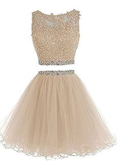 Henglizh Short Lace Appliques Beaded Two Pieces Prom Dress Homecoming Dresses Homecoming Dresses For Sale, Junior Prom Dresses, Prom Dresses Two Piece, Cute Prom Dresses, Grad Dresses, Pretty Dresses, Formal Dresses, Dress Prom, Dama Dresses