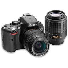 Black Friday Only! Nikon Black D5100 16.2MP Digital SLR Camera Kit with 18-55mm and 55-200mm Lenses