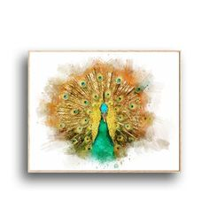 Housewarming gift for nature lovers. Wildlife Decor, Peafowl, Printable Wall Art, House Warming, Birds, Watercolor, Gift Ideas, Digital, Unique Jewelry
