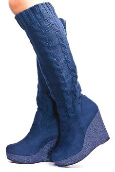 NAVY SWEATER KNIT FAUX SUEDE PLATFORM WEDGE BOOTS