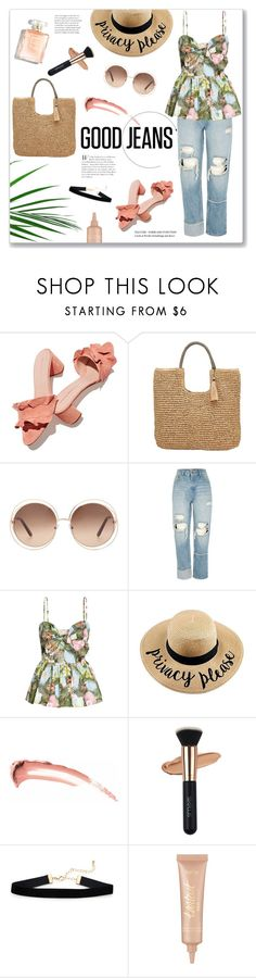 """Good jeans"" by bogira ❤ liked on Polyvore featuring Loeffler Randall, John Lewis, Chloé, River Island, tarte, fashiontrend, distresseddenim, fashionset and goodjeans"