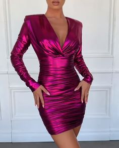Shiny Wrinkle Outlet Deep V Neck Bodycon Dress - Evening Dresses Satin Dresses, Tight Dresses, Elegant Dresses, Pretty Dresses, Sexy Dresses, Evening Dresses, Casual Dresses, Short Dresses, Fashion Dresses