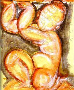 Rose Caryatid, de Modigliani 1914  #Modigliani #expressionism #expresionismo #amedeomodigliani  #livorno