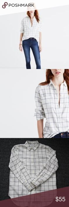 Madewell Flannel Classic Ex-Boyfriend Shirt Madewell Flannel Classic Ex-Boyfriend Shirt in Windowpane in size Small. Gently worn! Like new!  PRODUCT DETAILS Signature tomboy button-down in bold windowpane flannel. Ex-boyfriend shirt, next-boyfriend attitude. True to size. Cotton/wool. Madewell Tops Button Down Shirts