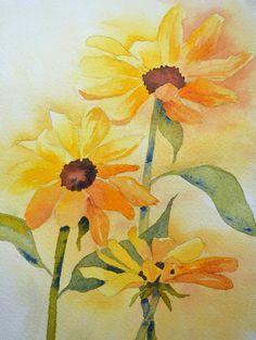 Art Fine ArtWatercolor Painting of Yellow Black by yankeegirlart, $45.00
