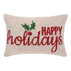 Happy Holiday Holly Pillow