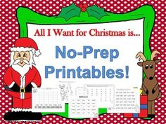 FREE!!  FREE!!  Today Only (12/19/14) Merry Christmas!!  This is for all of you that have to work next week like we do!  Keep those kiddos busy and learning!  This is a huge print and play pack to use the week before Christmas.  It is full of ELA games that will keep your students actively engaged and learning right up until the Christmas Break. Made with cute Christmas graphics and  a game approach to learning that your students will LOVE!