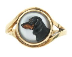 Vintage 14K Yellow Gold Essex Crystal Ring - Dachshund