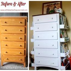 DIY Bookshelf Dresser.. uses spice racks from IKEA that are 4 bucks each.