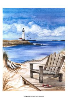 Álbum de imágenes para la inspiración (pág. 82)   Aprender manualidades es facilisimo.com Houses In America, Outdoor Chairs, Outdoor Decor, Home Art, Night Light, Nautical, Watercolor, Lighthouses, Canvas